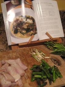 Snapper, asparagus and ramps ready to go