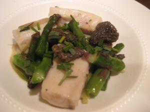 Red Snapper with Asparagus, Ramps and Morels