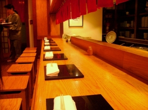 The bar in Makoto offers a view of the chefs at work.
