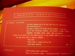 An older version of Makoto\'s menu, courtesy of Toro E. at Yelp