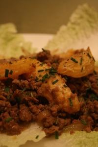 Orange Beef Stir Fry on Cabbage