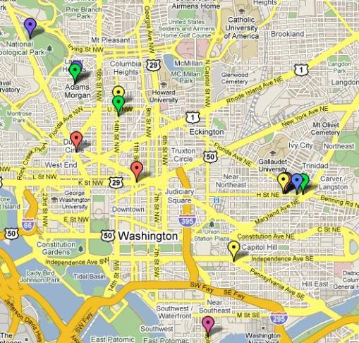 Click on the image to go to our Google map that locates all of the participants in DC Beer Week 2009 with event details.