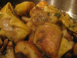 Duck Confit Ravioli with Mushrooms